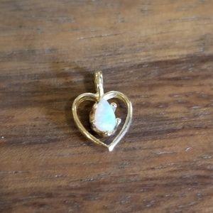 Jewelry - Gold Opal Heart Pendant